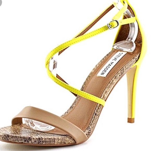 4879ab2a048 Steve Madden Neon   Snake Strappy Heels. M 5aa87c02a4c4859f8ff68dde